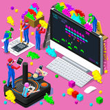 Video Retro Game Gaming Isometric People Vector Illustration. Retro Video game screen and gamer person playing online with console controller android phone or stock illustration