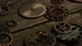 Rotating stock footage shot of antique and weathered watch faces. Video of Rotating stock footage shot of antique and weathered watch faces stock video footage