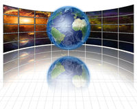 Video Screens with Earth. High resolution Video Screens with Earth Royalty Free Stock Photos