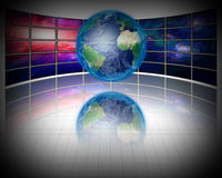 Video Screens with Earth Stock Photo