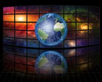 Video Screens with Earth stock illustration