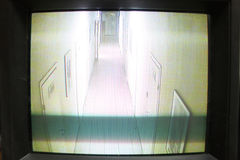 Video security monitor. Monochrome picture on video security monitor Royalty Free Stock Photo