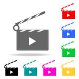Video segno del cinema dell'icona Elementi nelle multi icone colorate per i apps mobili di web e di concetto Icone per progettazi royalty illustrazione gratis