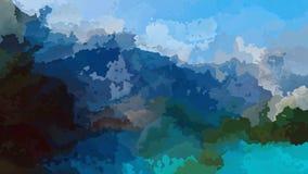 Video senza cuciture macchiato animato astratto del ciclo del fondo - colore verde di gray blu - paesaggio della montagna video d archivio