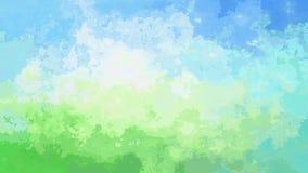Video senza cuciture macchiato animato astratto del ciclo del fondo - effetto dell'acquerello - cielo blu sopra colore verde archivi video