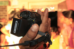 Video Shooting. Close-up of Video Camera while shooting in a marriage ceremony Stock Photo