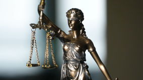 Video shot of Lady Justice Statue. The Statue of Justice - lady justice or Iustitia the Roman goddess of Justice