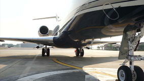 Video shot plane parking angle from bottom view stock video footage