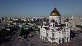 Temple in the city center. Great recreation, filmed on a quadrocopter. City top on drone shot, Moscow stock video footage