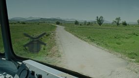 A video shot of a trainride. A cabin shot  of a trainride stock video footage