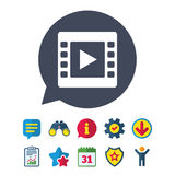 Video sign icon. Video frame symbol. Information, Report and Speech bubble signs. Binoculars, Service and Download, Stars icons. Vector Royalty Free Stock Photo