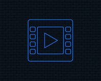 Video sign icon. Video frame symbol. Neon light. Video sign icon. Video frame symbol. Glowing graphic design. Brick wall. Vector Stock Images