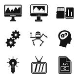 Video signal icons set, simple style. Video signal icons set. Simple set of 9 video signal vector icons for web isolated on white background Stock Images