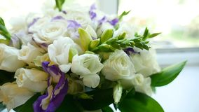 Video small bouquet of white roses on the window. Video small bouquet of white roses on window stock footage
