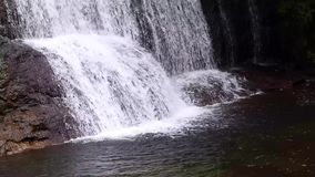 Small Waterfall Of Two Levels And River stock footage