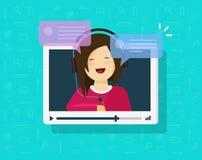 Video som pratar online-vektorillustrationen, plant fönster för tecknad filmvideospelare med att tala lyckliga flicka- och bubbla royaltyfri illustrationer