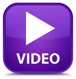 Video special purple square button Stock Images