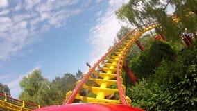 Spiraling through coaster tracks stock video footage