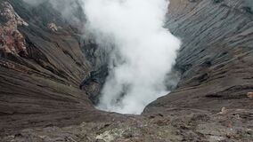 Video of the steaming active volcano Bromo