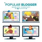 Video Streamer Set Vector. Personal Weblog Channel. Blogosphere Online. Popular Videobloggers. Isolated Flat Cartoon. Video Streamer Set Vector. Personal Weblog royalty free illustration