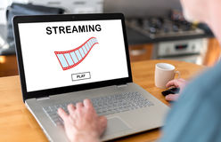 Video streaming concept on a laptop Stock Image