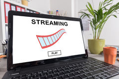 Video streaming concept on a laptop Royalty Free Stock Photography
