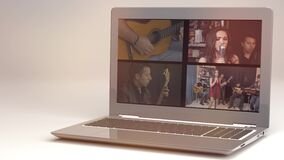 Video streaming, online concert, live music clip on internet on laptop on white background.3D rendering