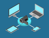 Video streaming online internet media flat 3d isometric vector Stock Images
