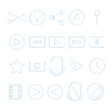 Video streaming outline icons Stock Photography