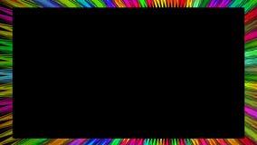 Video struttura animata con i raggi variopinti dell'arcobaleno su fondo nero Confine significativo psichedelico stock footage