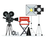 Video studio director chair. Film directors chair with megaphone, projector, camera and clapboard. Work on the set of the film. Flat vector cartoon illustration Stock Images