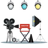 Video studio equipment. Film directors chair with megaphone, projector, camera and clapboard. Work on the set of the film. Flat vector cartoon illustration Stock Photography