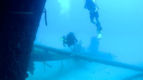 Video subacqueo d'immersione del mare caraibico della gente stock footage