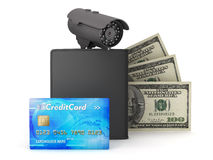 Video surveillance camera, dollars, credit card and wallet Royalty Free Stock Image