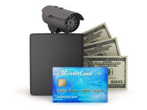 Video surveillance camera, dollars, credit card and wallet Royalty Free Stock Photos