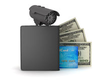 Video surveillance camera, dollars, credit card and wallet stock illustration