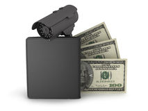 Video surveillance camera, dollars and leather wallet Royalty Free Stock Photography