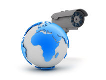 Video surveillance camera and earth globe Stock Image