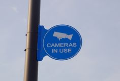 Video Surveillance Camera in use sign Stock Photo