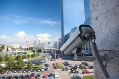 Video surveillance camera on a wall Royalty Free Stock Photography