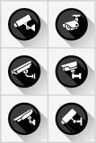 Video surveillance, cctv camera set circle stickers Stock Image