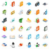 Video surveillance icons set, isometric style. Video surveillance icons set. Isometric set of 36 video surveillance vector icons for web isolated on white Royalty Free Stock Photography
