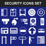 Video surveillance metal and alarm detectors turnstiles. Security icons set flat Royalty Free Stock Photo