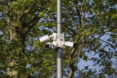 Video cameras in the park. protection of the park. royalty free stock photography