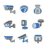 Video surveillance security cameras  pictograms and icons Stock Photos
