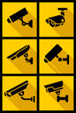 Video surveillance, set yellow square Stock Image