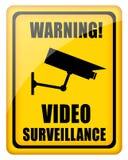 Video surveillance sign stock illustration