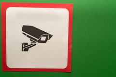 Video surveillance sign indoors on green wall Royalty Free Stock Photography