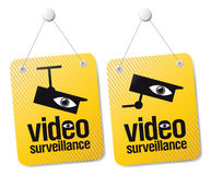 Video surveillance signs. stock illustration