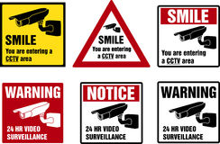 Video surveillance signs Royalty Free Stock Photos